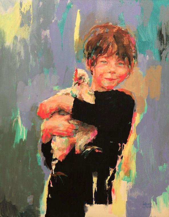 Fernanda Cataldo original art, boy holding chicken.