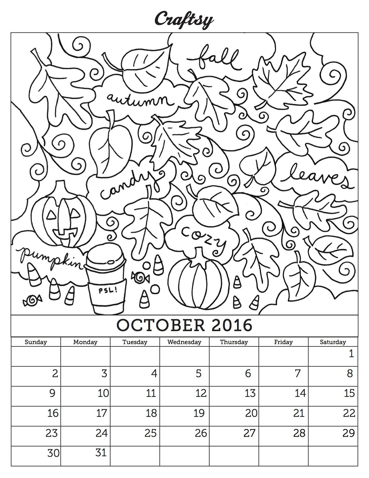 October Coloring Calendar Page Calendar Pages Coloring Pages