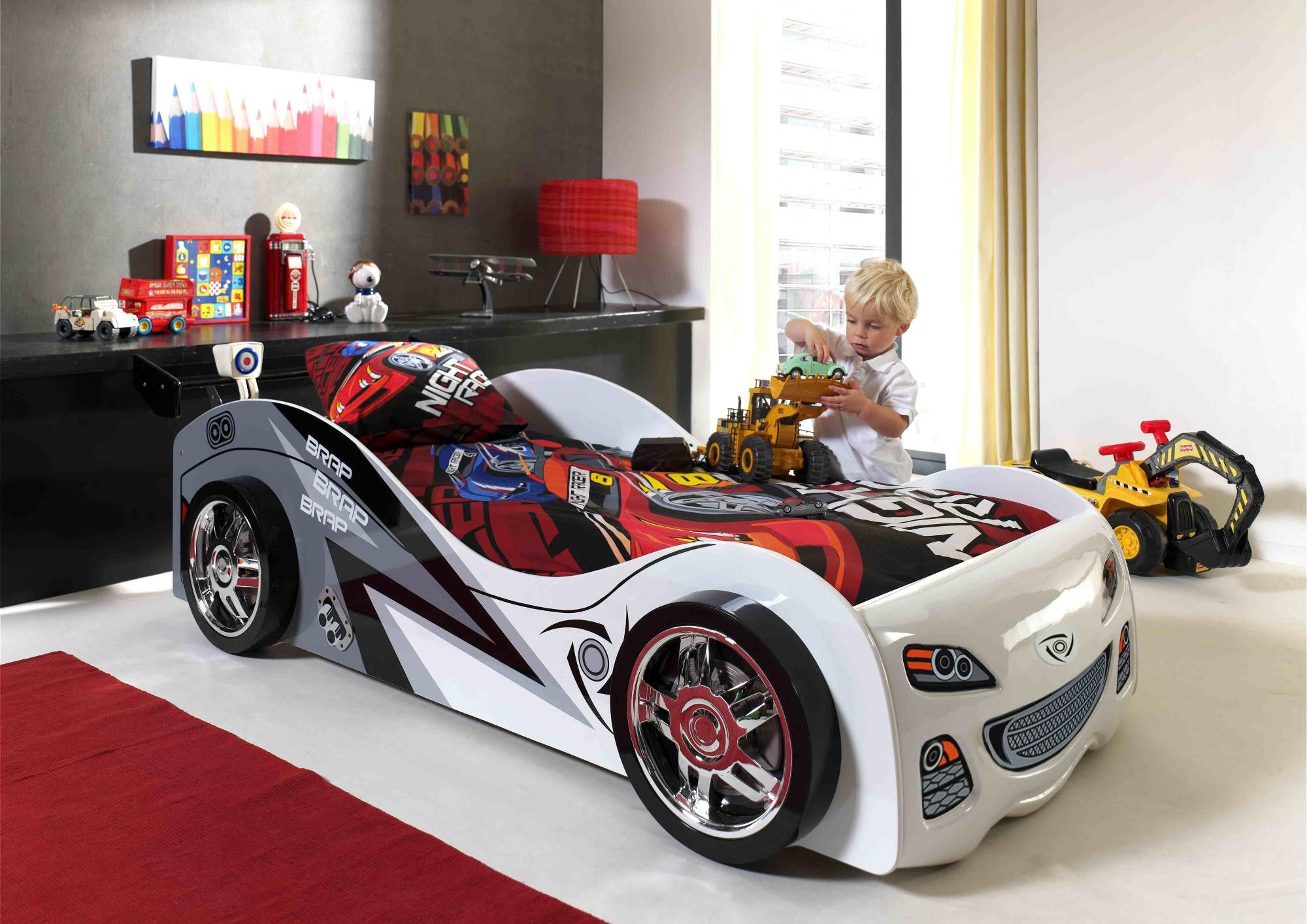 Lit enfant voiture coloris blanc Pole Position | Lit ...