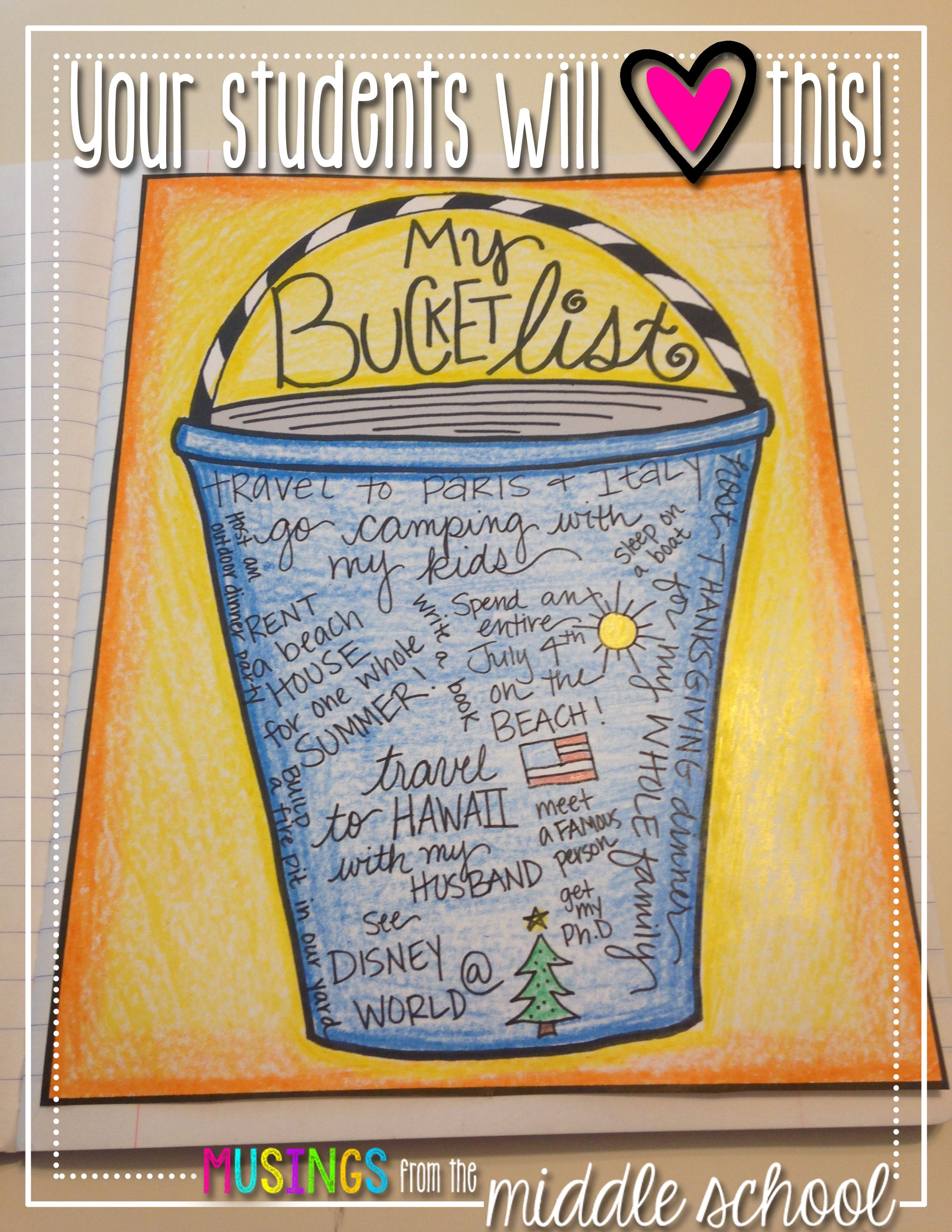 Writing from Lists: My Bucket List   Kalender