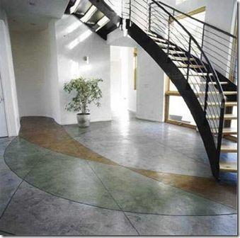 Cemento pulido - en mi opinión es un vaciado de cemento con diseño de colores opacos y pulido.
