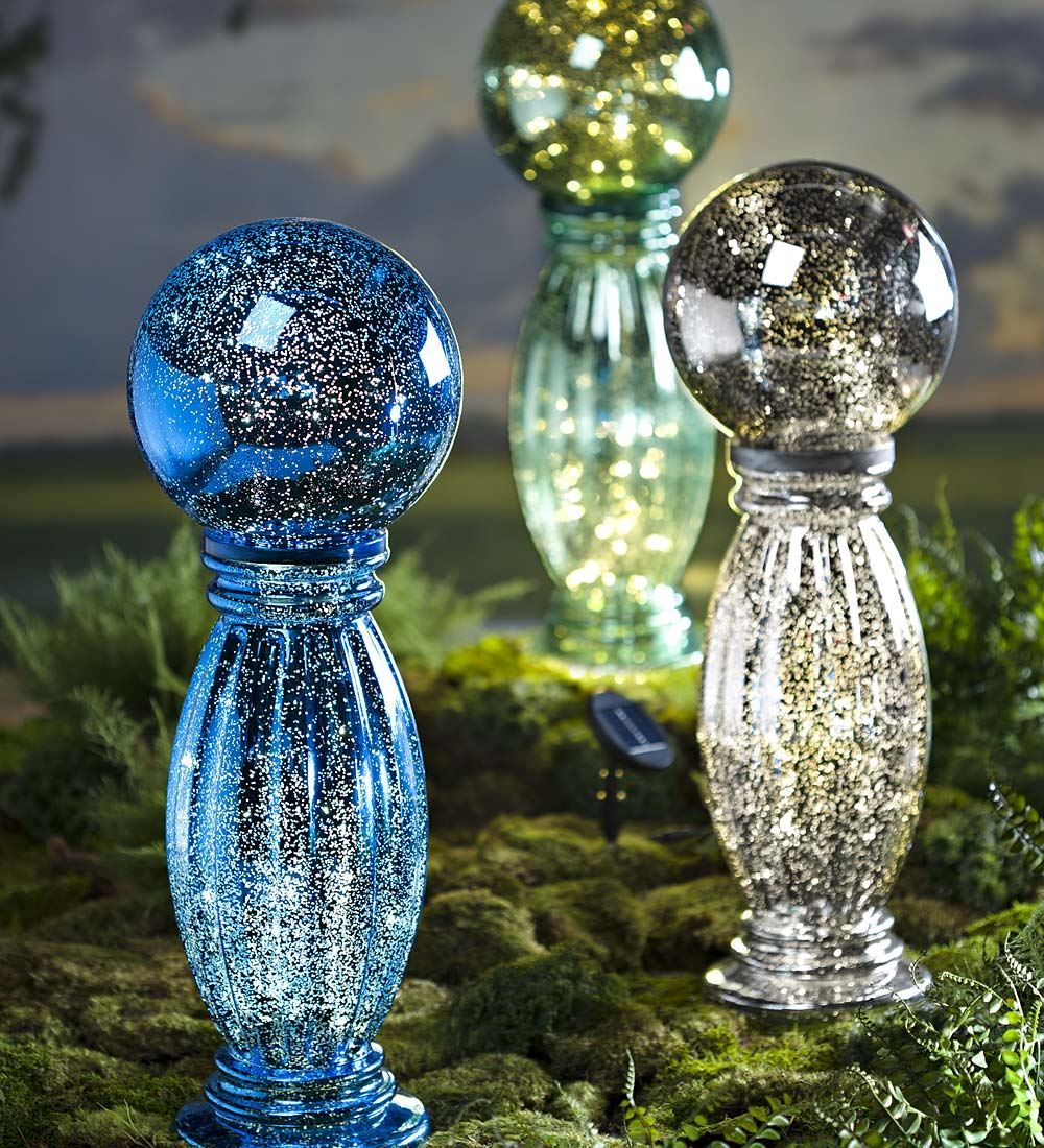 Solar Mercury Glass Gazing Ball and Stand | Decorative