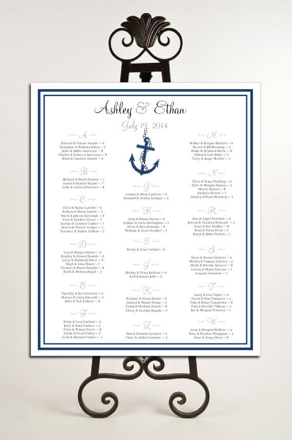 Nautical Beach Seating Chart for Wedding Table Assignments for - printable seating charts