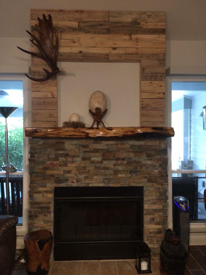 redid my boring builder grade fireplace using recycled pallet wood rh pinterest com