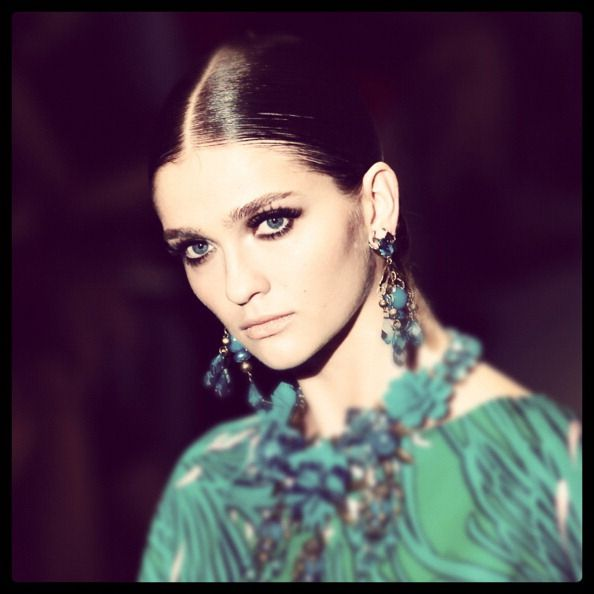 News Photo: model walks the runway at the Gucci Spring…