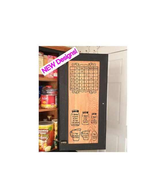 set of two kitchen measuring conversion charts decal for cabinet rh pinterest com