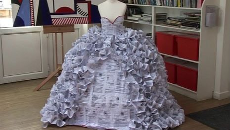 Wedding dress made out of divorce papers exhibtition