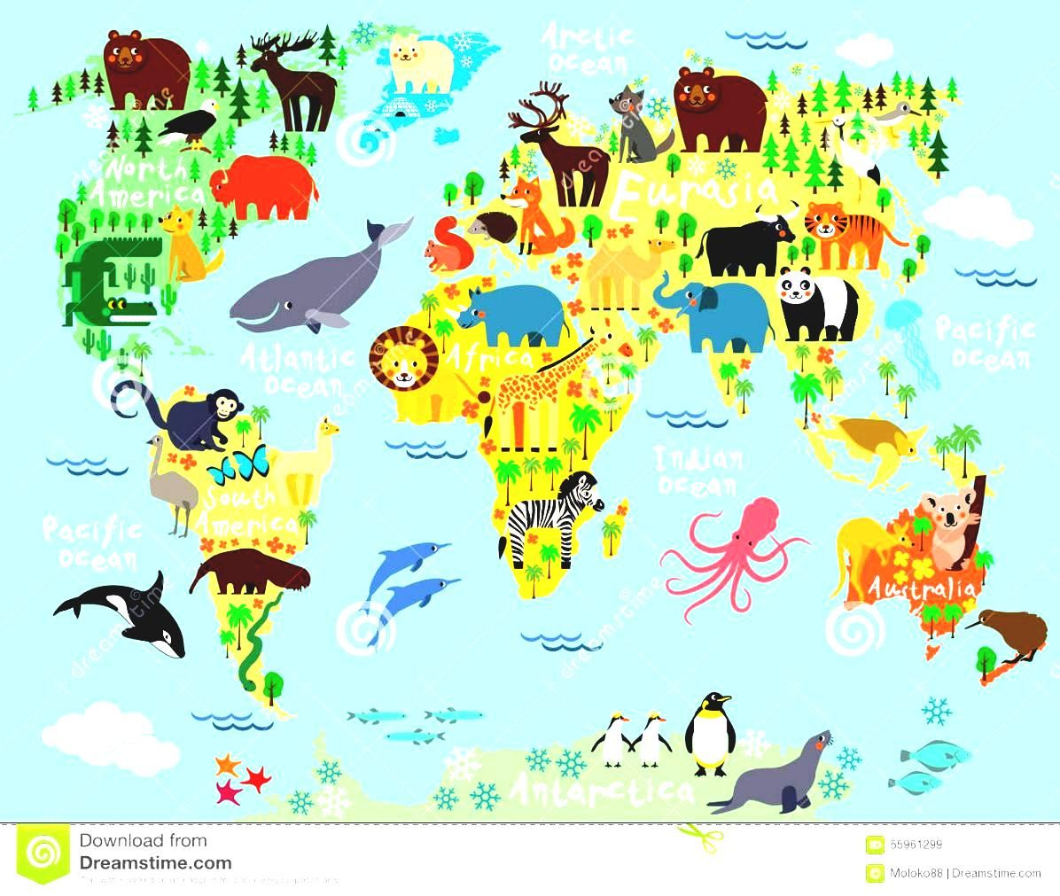 World Map Continents For Kids Cartoon Animal Children And ...