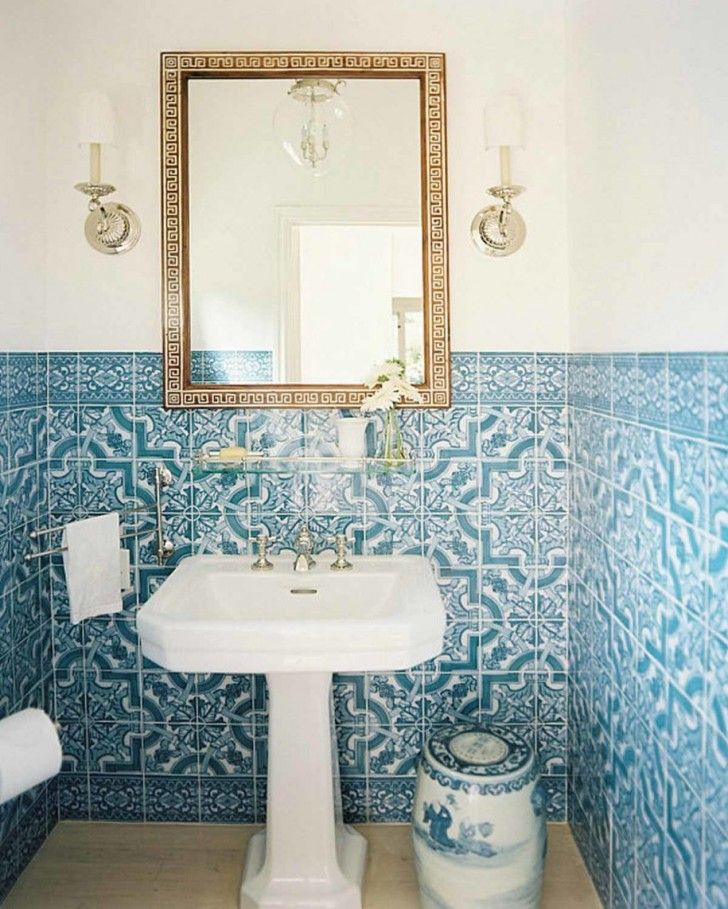 pedestal sink or vanity in small bathroom%0A    blue bathroom wall tile ideas and pictures