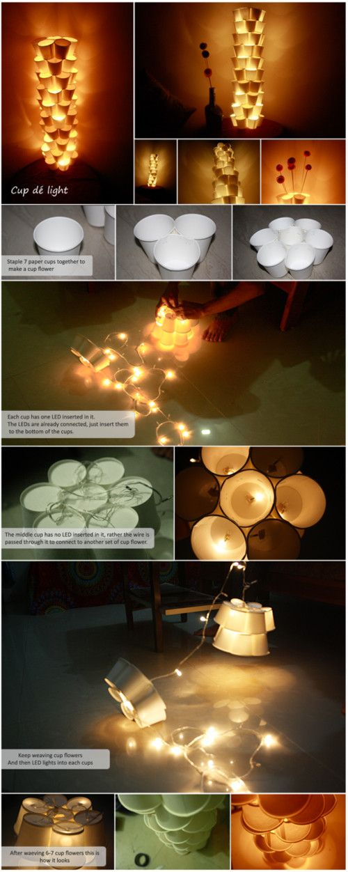 DIY cup tower lamps with recycled paper cups