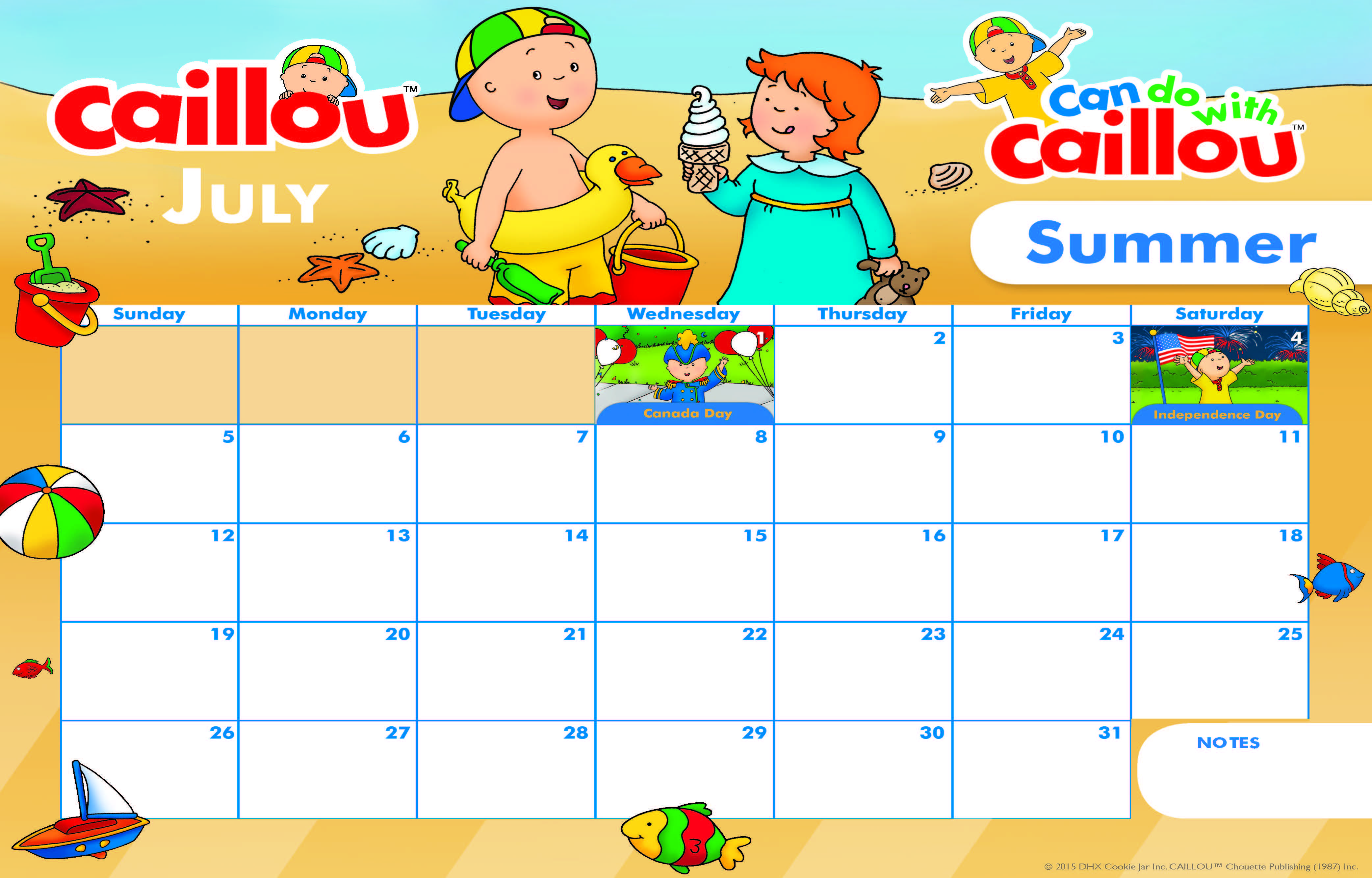 Get Ready To Plan Your Summer Fun With This Adorable Printable Caillou Calendar We Re