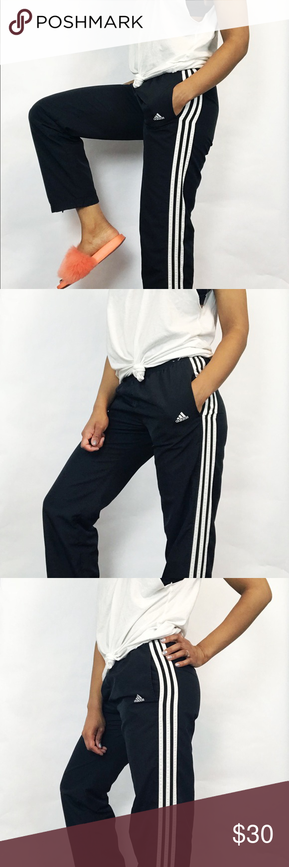 93da084e8d1485 Adidas 90's Vintage Zipper Ankle Track Pants 90's classic 3 stripe  trackpants with front pockets and ankle zippers. Banded waist with  drawstring.