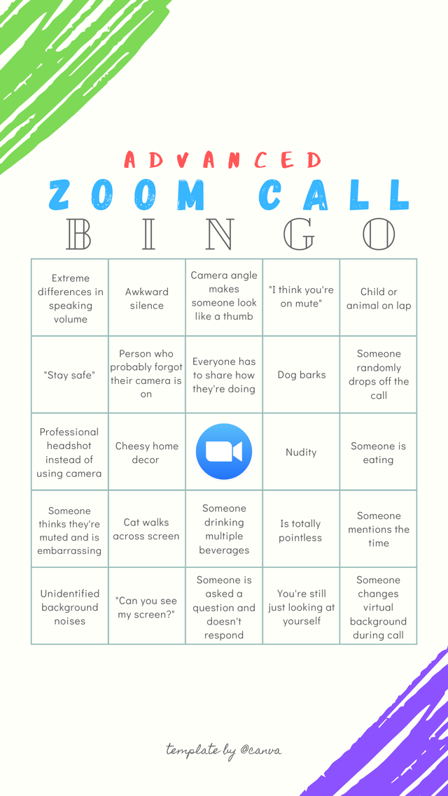 Advanced Zoom Call Bingo Zoom in 2020 Zoom call, Video