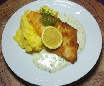 Photo of Dill cream sauce with fried fish by sweetandjuicy   chef