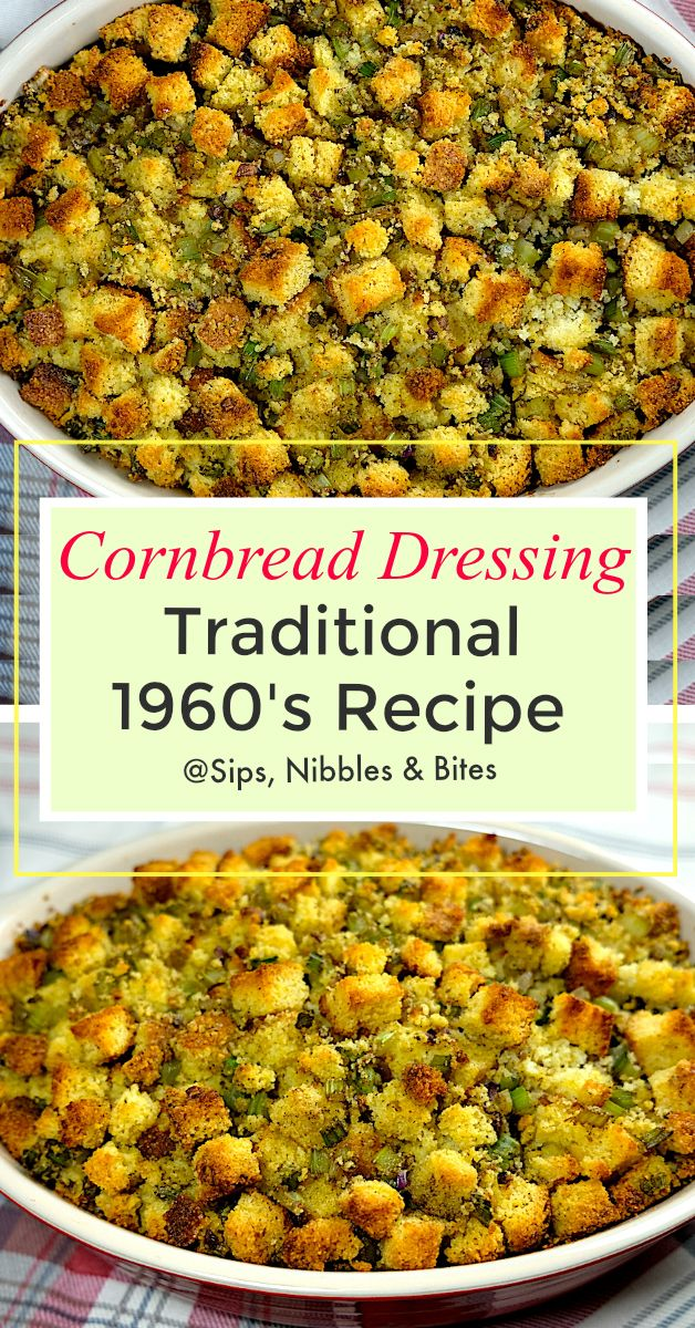 My mom got this Cornbread Dressing recipe from a little old church lady back in 1962, and she's been making it exactly the same way ever since #thanksgiving #dressing #stuffing #cornbread #traditionalrecipe #holidayrecipe #christmas #turkeydressing #turkey #familyrecipe #cornbreaddressing #southerndressing #cornbreaddressing