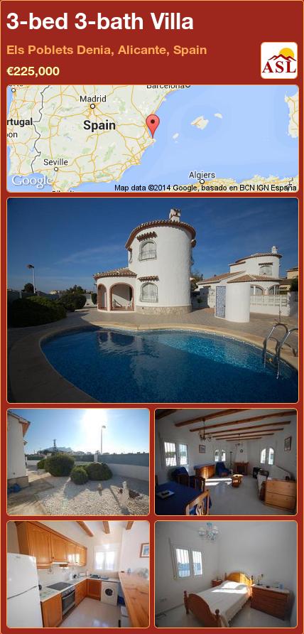3-bed 3-bath Villa in Els Poblets Denia, Alicante, Spain ►€225,000 #PropertyForSaleInSpain