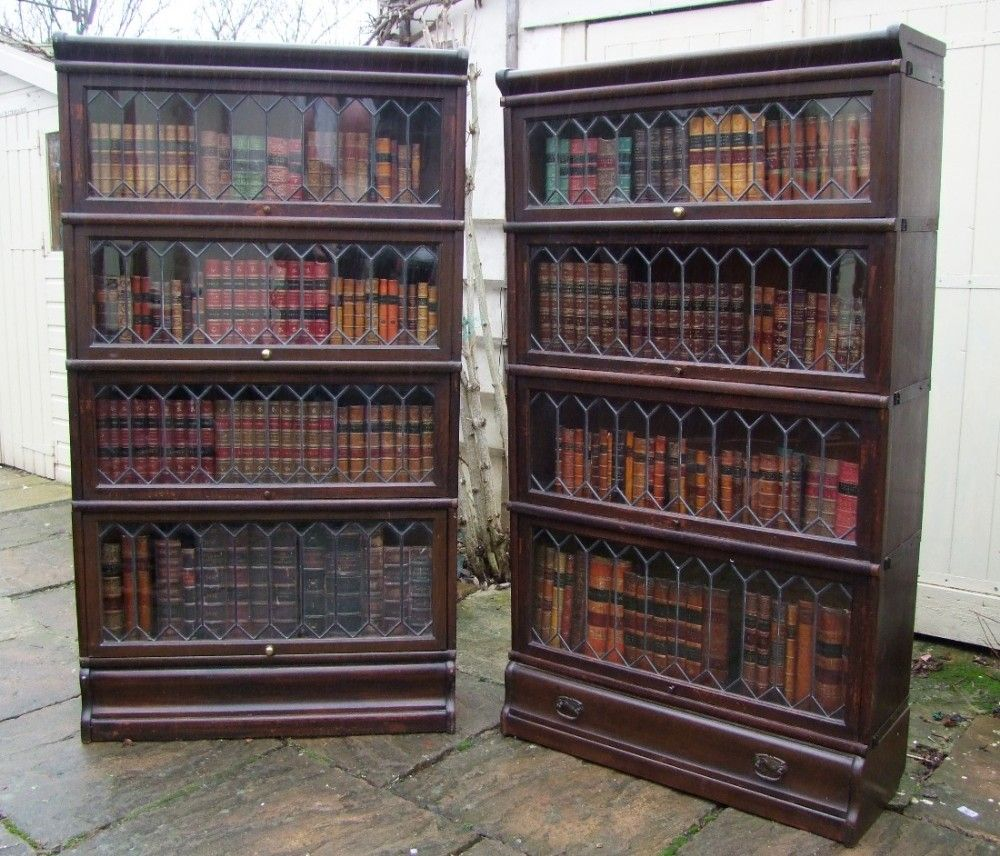 matched pair of edwardian oak globe wernicke bookcases with leaded rh pinterest com