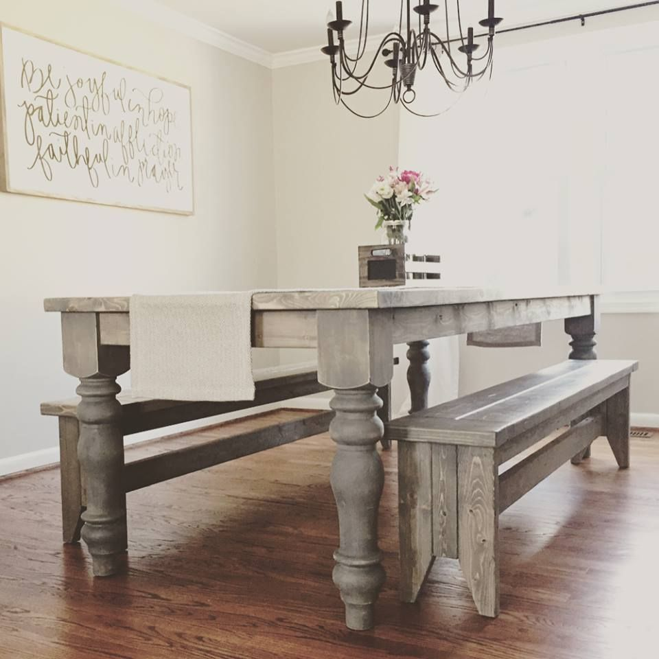 DIY Woodworking Project: Chunky Farmhouse Table made using Legs from Design  59 Furniture found on