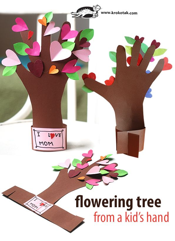 Flowering tree from a kid's hand. Easy kids valentine craft