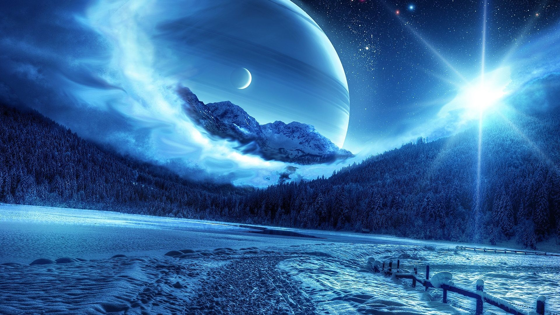 1920x1080 Wallpaper Winter Night Mountains Road Planet Fantastic Landscape Scenery Wallpaper Anime Scenery Wallpaper Winter Scenery
