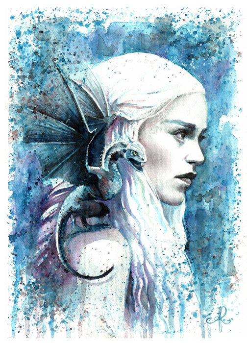 GAME OF THRONES Print Poster Watercolour Framed Canvas Wall Art Danerys Jon Snow