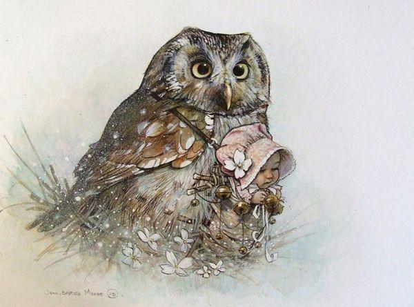 Owl and baby / Gufo e neonato - Art by Jean Baptist Monge