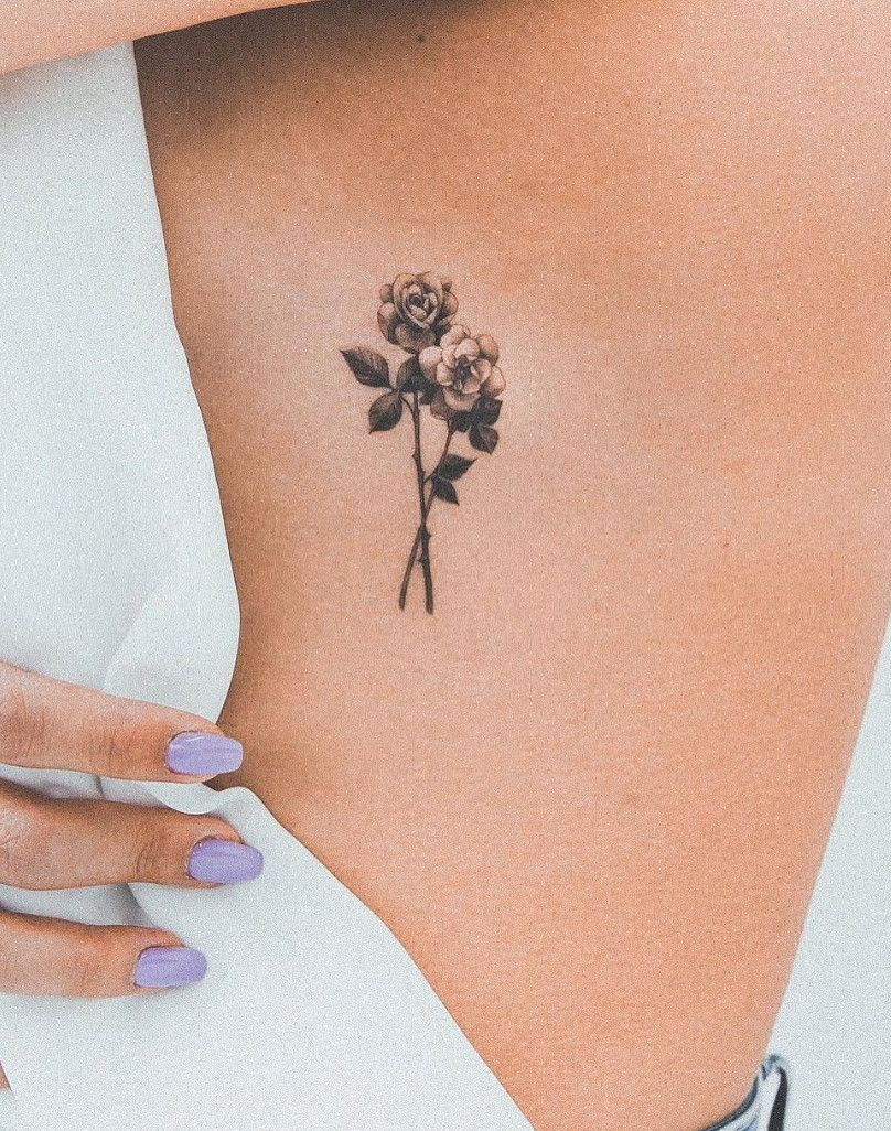 Fine Lined Rose Tattoo Done By @ghinkos In Toronto