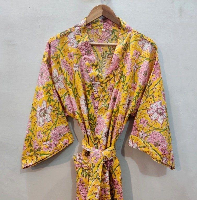 Floral print silk saree kimono long kimono dress beach night wear gown with belt and 34 sleeve vintage silk saree kimono.