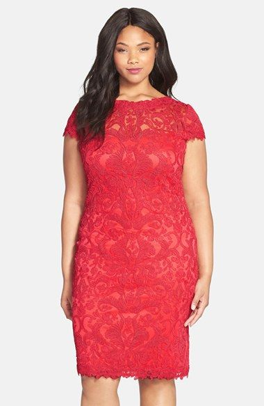 Tadashi Shoji Cap Sleeve Lace Sheath Dress Plus Size Available At