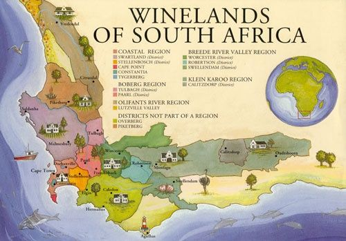 Map Of Winelands South Africa Winelands Of South Africa x | South africa wine, South africa