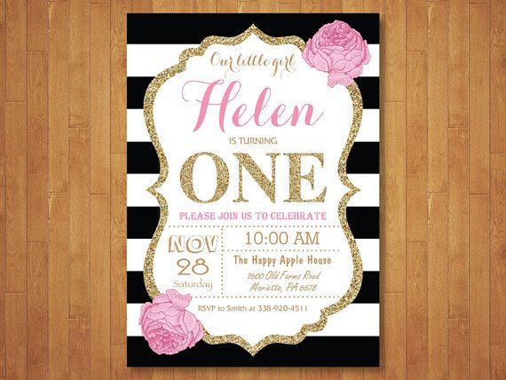Black And Gold First Birthday Invitation Girl Party Glitter Pink Stripes