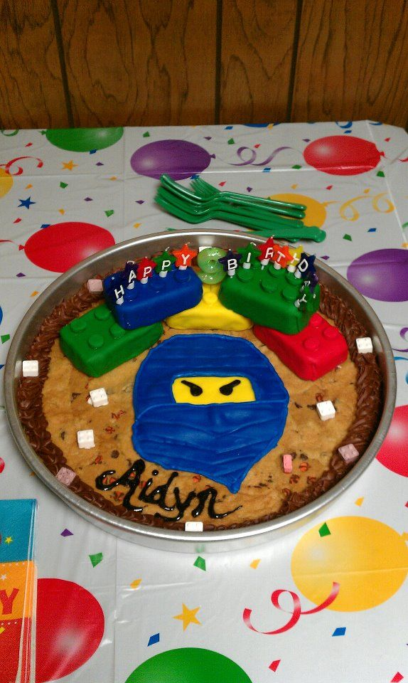 Amazing 2Nd Ninjago Lego Cookie Cake With Images Lego Birthday Party Personalised Birthday Cards Beptaeletsinfo