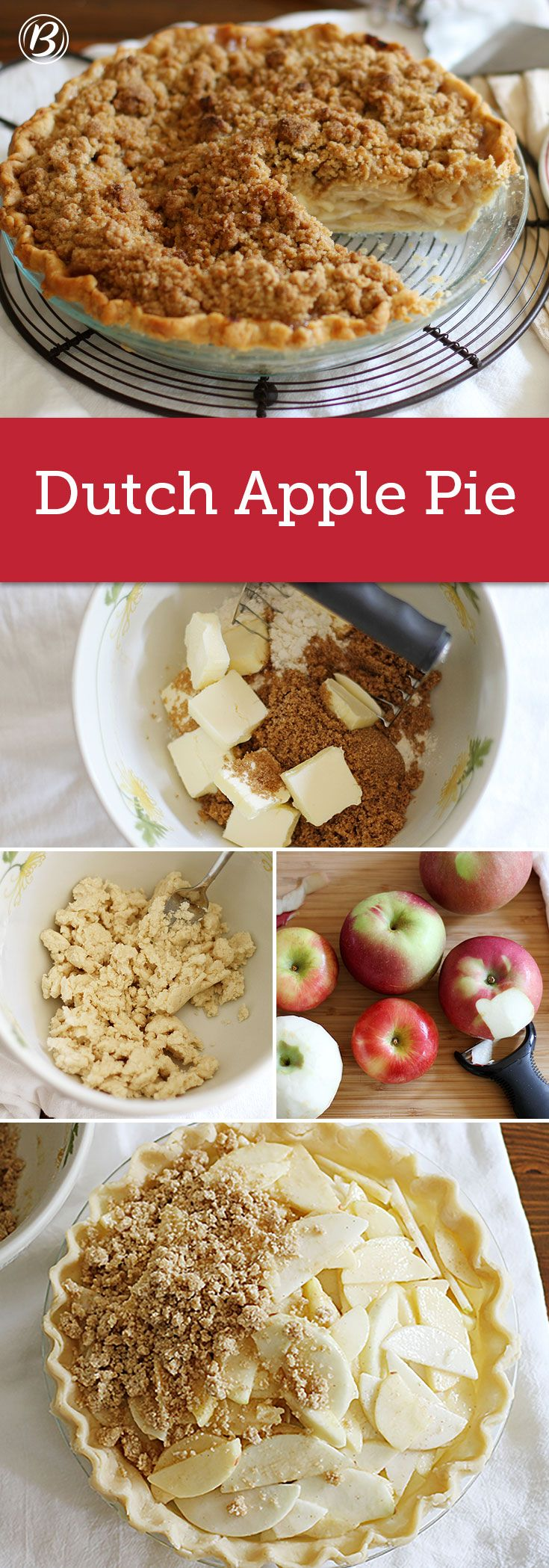 Celebrate apple season and bake up this classic crumble-topped apple pie today. Planning ahead for Thanksgiving? This pie will keep frozen, wrapped in plastic wrap and then again in foil, for up to 3  (Favorite Desserts Mom) #applepie