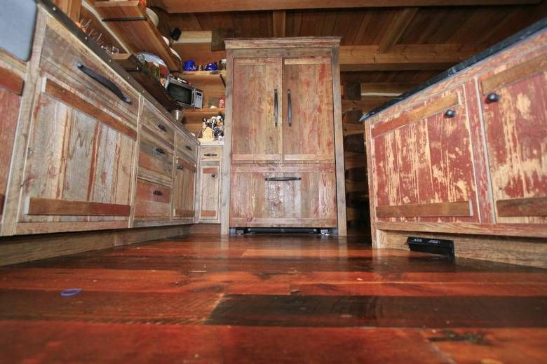 Barn Board Kitchen Cabinets | Photoset #1554   Red Painted Barnwood Cabinets  In B.C. Kitchen