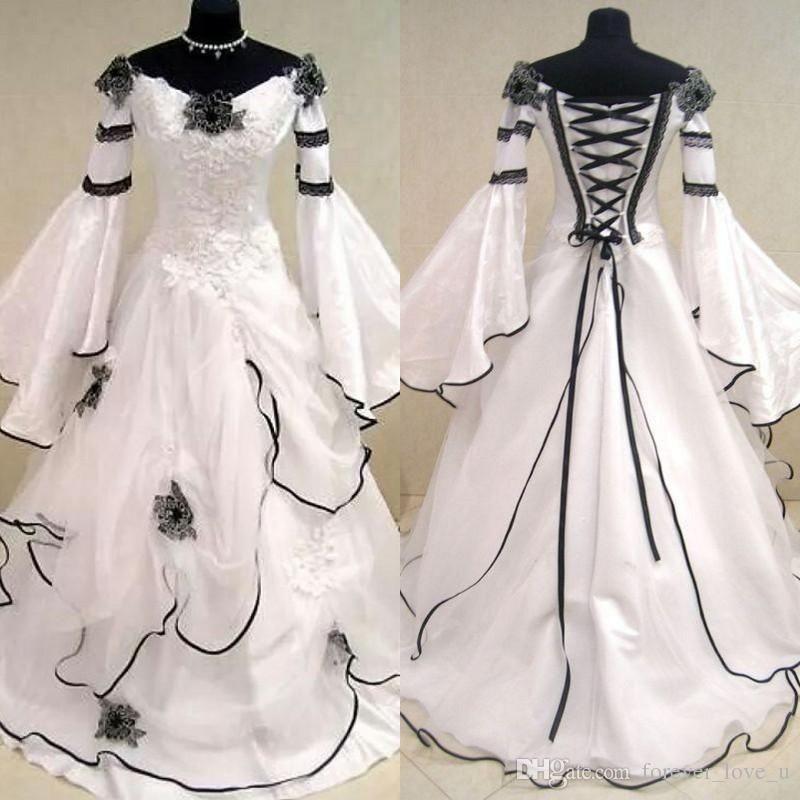 Renaissance Vintage Black And White Medieval Wedding Dresses