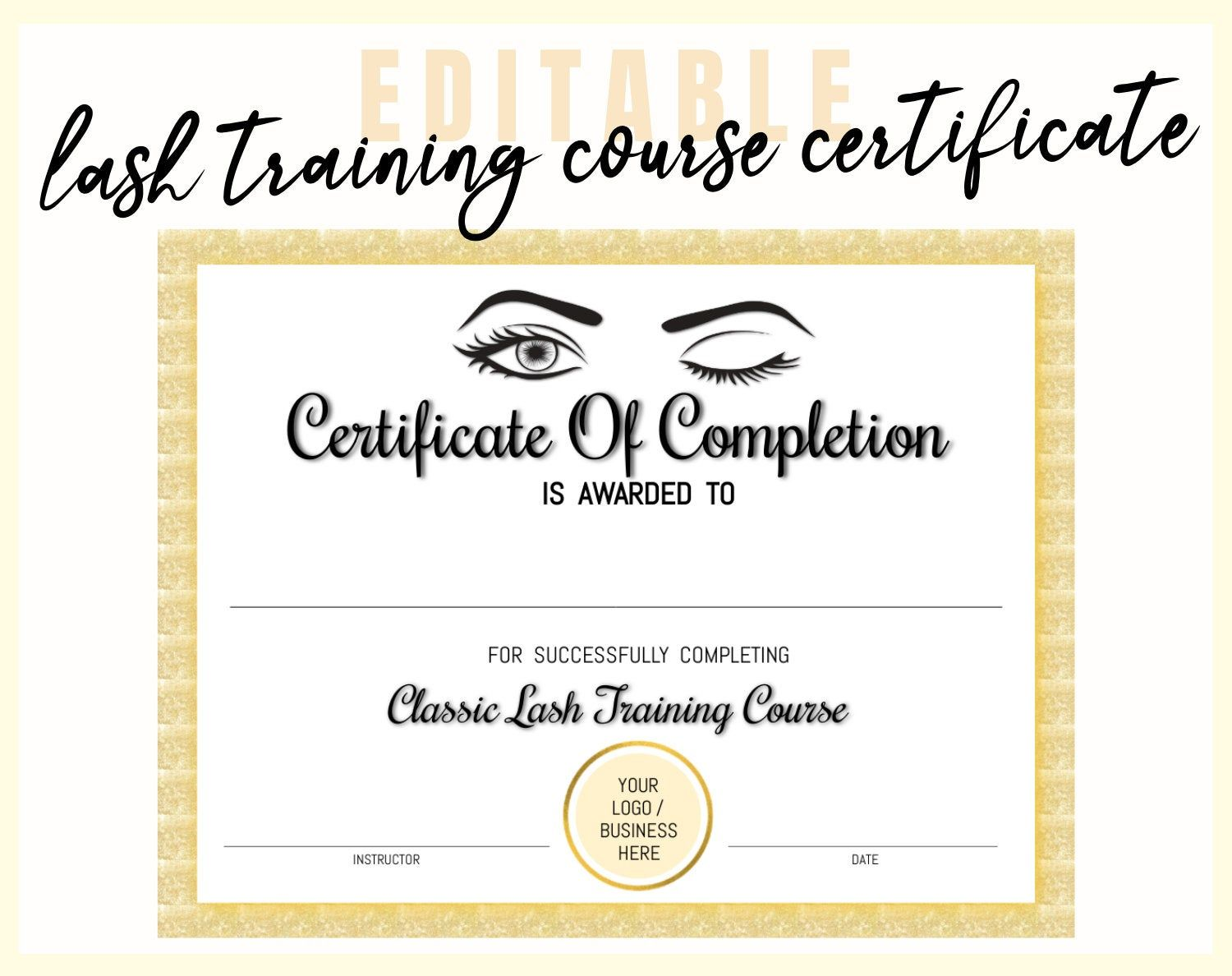 Personalized Eyelash Extension Training Course Certificate