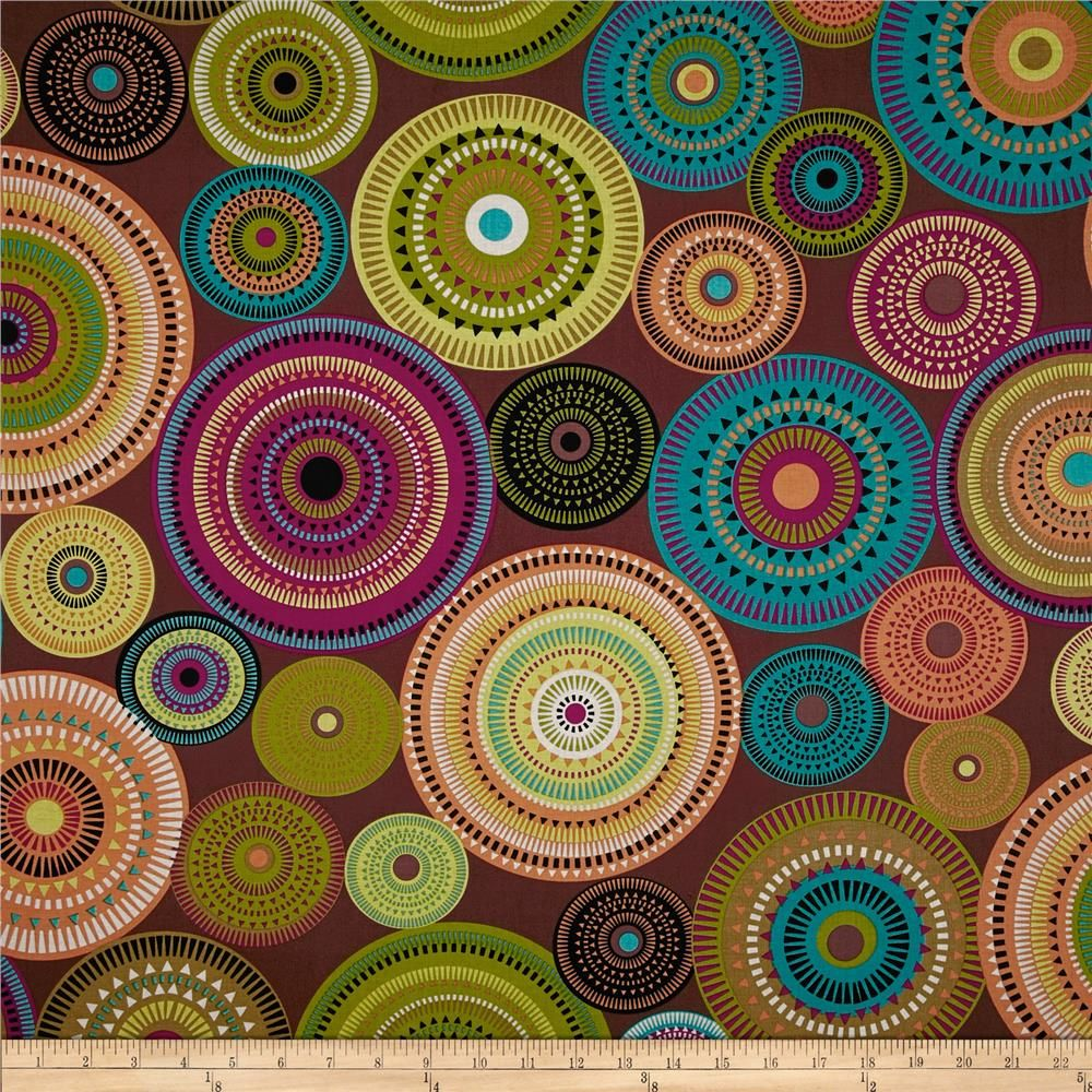 Michael Miller Norwegian Woods Aurora Borealis Forest Cocoa from @fabricdotcom  Designed for Michael Miller, this cotton print fabric is perfect for quilting, craft projects, apparel and home décor accents. Colors include black, teal, canary, magenta, olive and orange on a cocoa background.