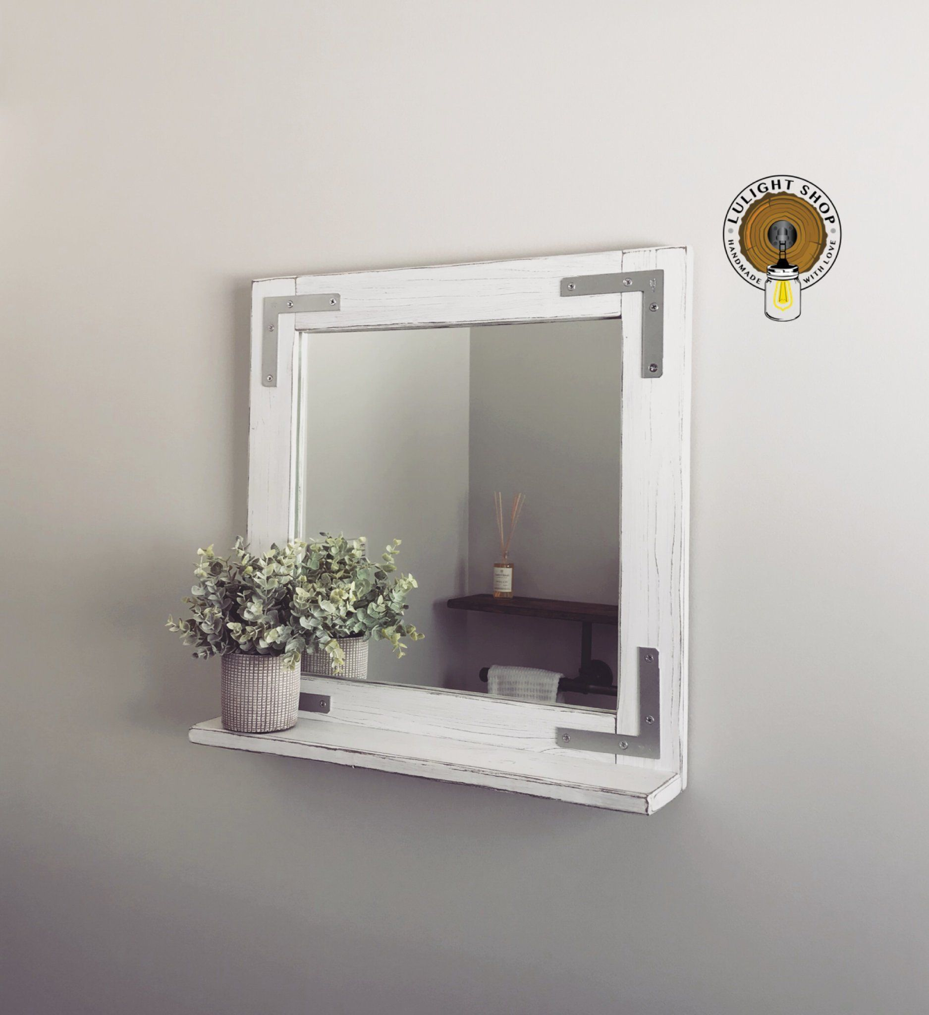 Whitewash Mirror With Shelf Wood Mirror Rustic White Mirror Framed Mirror Bathroom Bathroom Mirror Frame Bathroom Mirror With Shelf Bathroom Mirror Design