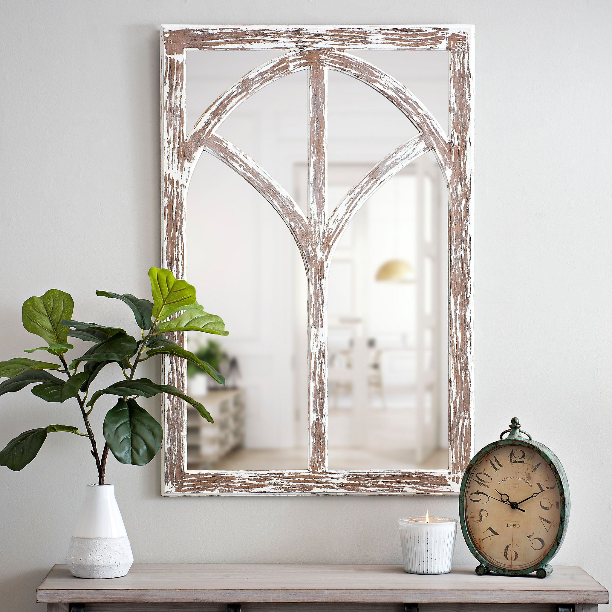 distressed arch wooden wall mirror arched wall decor on mirror wall id=46309