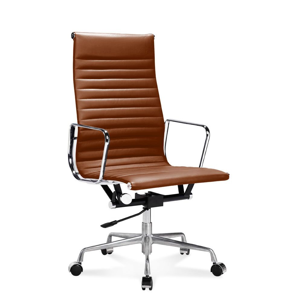 eames ribbed chair tan office. EA 119 - Eames Bürostuhl Hoher Office Chair Mit Geripptem Leder, Ribbed Tan I