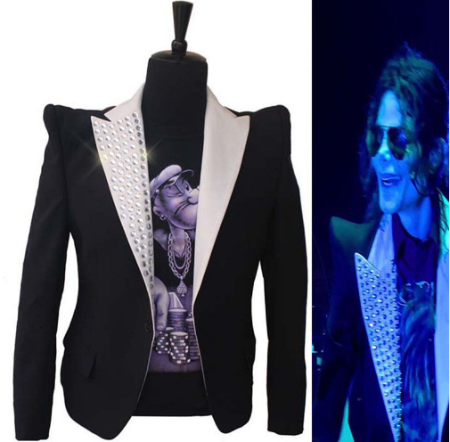 Rare Fashion MJ Michael Jackson Shrug Hunch Black Skinny Short Crystal This  is it Suit Blazer Jacket  119.99 - 139.99 659020b6c6c3