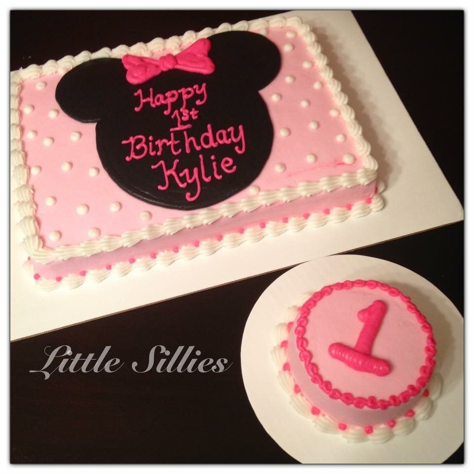 Minnie Mouse Sheet Cake And Smash Cake With Images Minnie