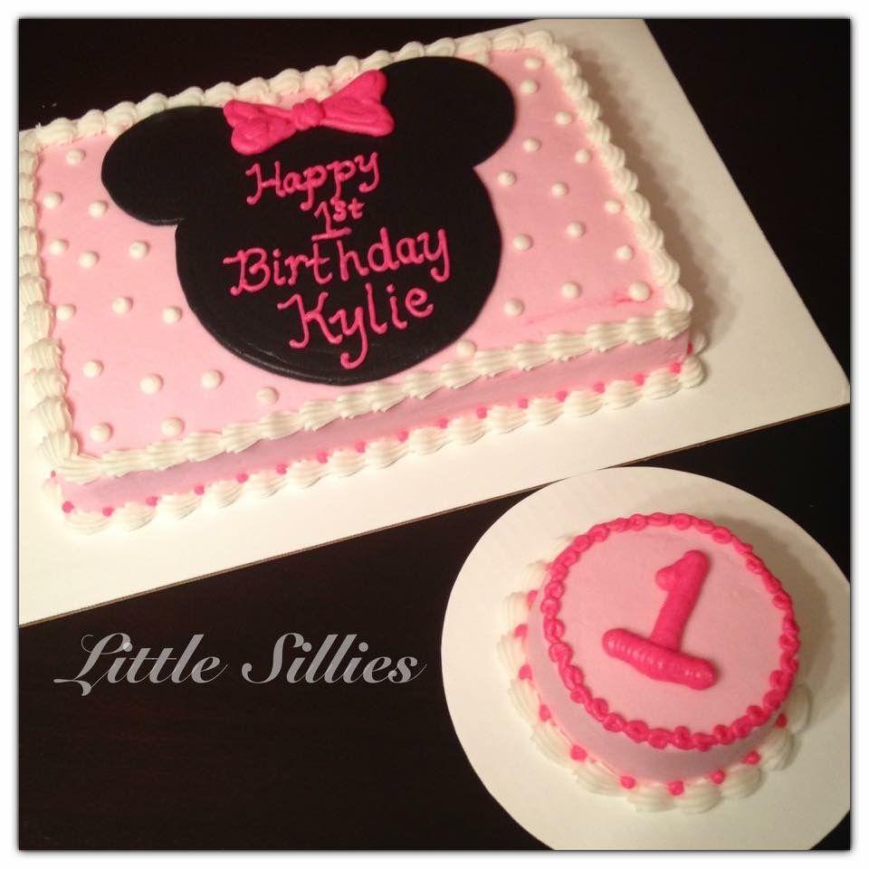 Minnie Mouse Sheet Cake And Smash Cake Minnie Mouse Birthday Cakes First Birthday Cupcakes Birthday Sheet Cakes
