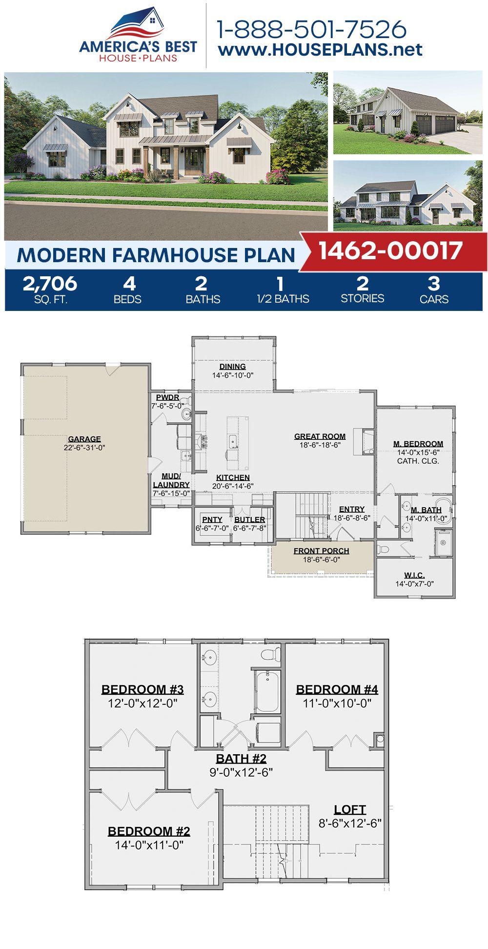 House Plan 1462 00017 Modern Farmhouse Plan 2 706 Square Feet 4 Bedrooms 2 5 Bathrooms In 2020 Modern Farmhouse Plans Farmhouse Plans Exclusive House Plan
