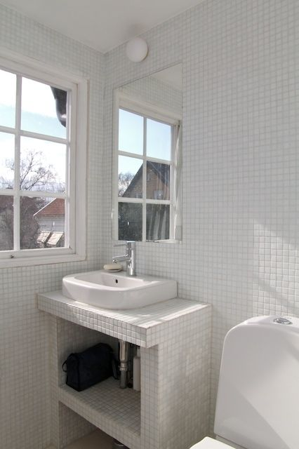 Adorable White mosaic tiles, Mosaics and Sinks
