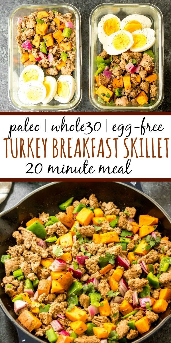 This Whole30 turkey breakfast skillet is a quick and easy, family friendly egg free breakfast. It's perfect for meal prep,  and you can always add an egg to it! It's filling and hearty, and full of flavorful veggies and spices. One pan meals are the way to go for fast meal prepping, and this Whole30 breakfast skillet is the ticket to an easy morning! #whole30breakfast #whole30breakfastskillet #paleobreakfast #whole30turkeyrecipes #whole30recipes
