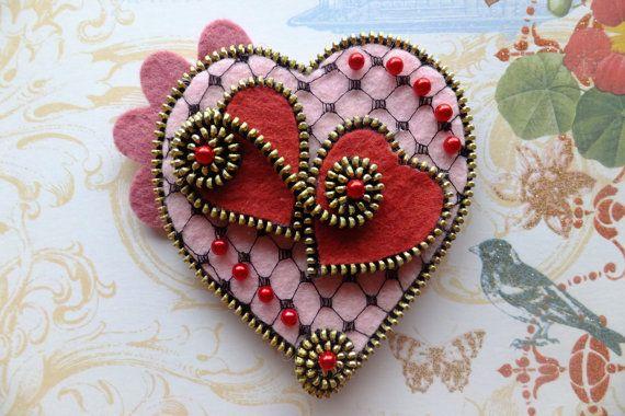Hearts Felt Zipper Brooch ❤ by MsLolaCreates on Etsy, $24.00