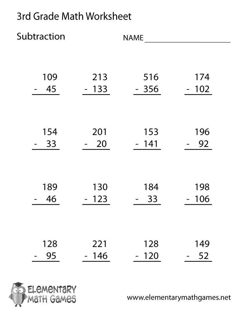 Worksheets Free Math Worksheets For Third Grade third grade subtraction worksheet teaching pinterest easily print our directly in your browser it is a free elementary math worksheet