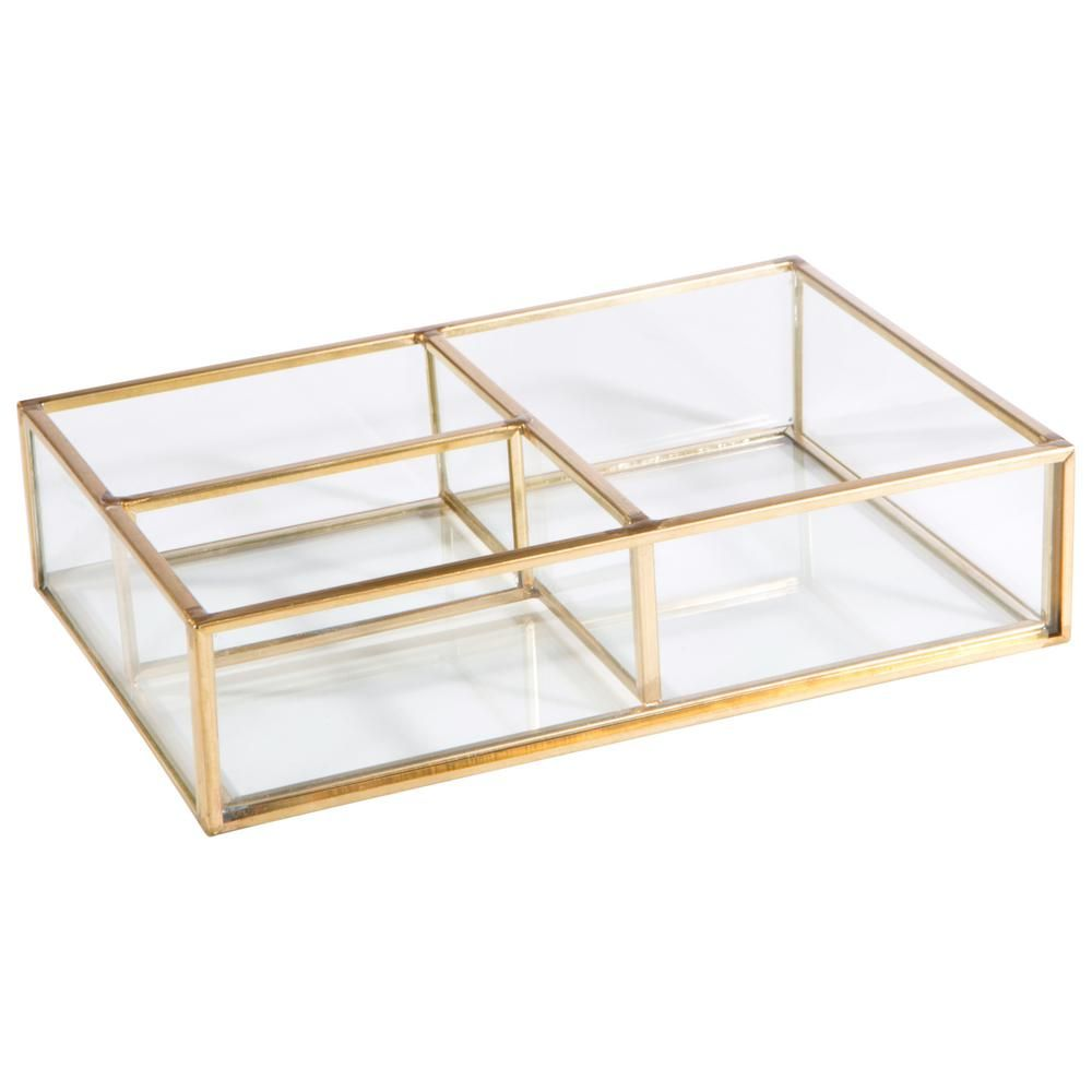 Home Details Vintage 3 Compartment Gold Glass Keepsake Tray In 2020 Gold Glass Wooden Jewelry Boxes Glass Boxes