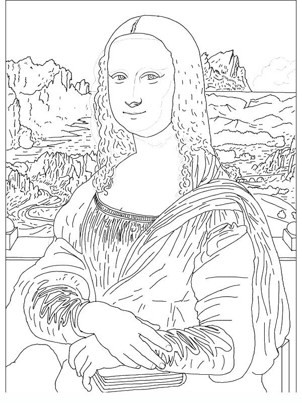 Famous Painting Coloring Pages : famous, painting, coloring, pages, Joconde, Famous, Paintings, Coloring, Pages, Coloring,, Handouts,